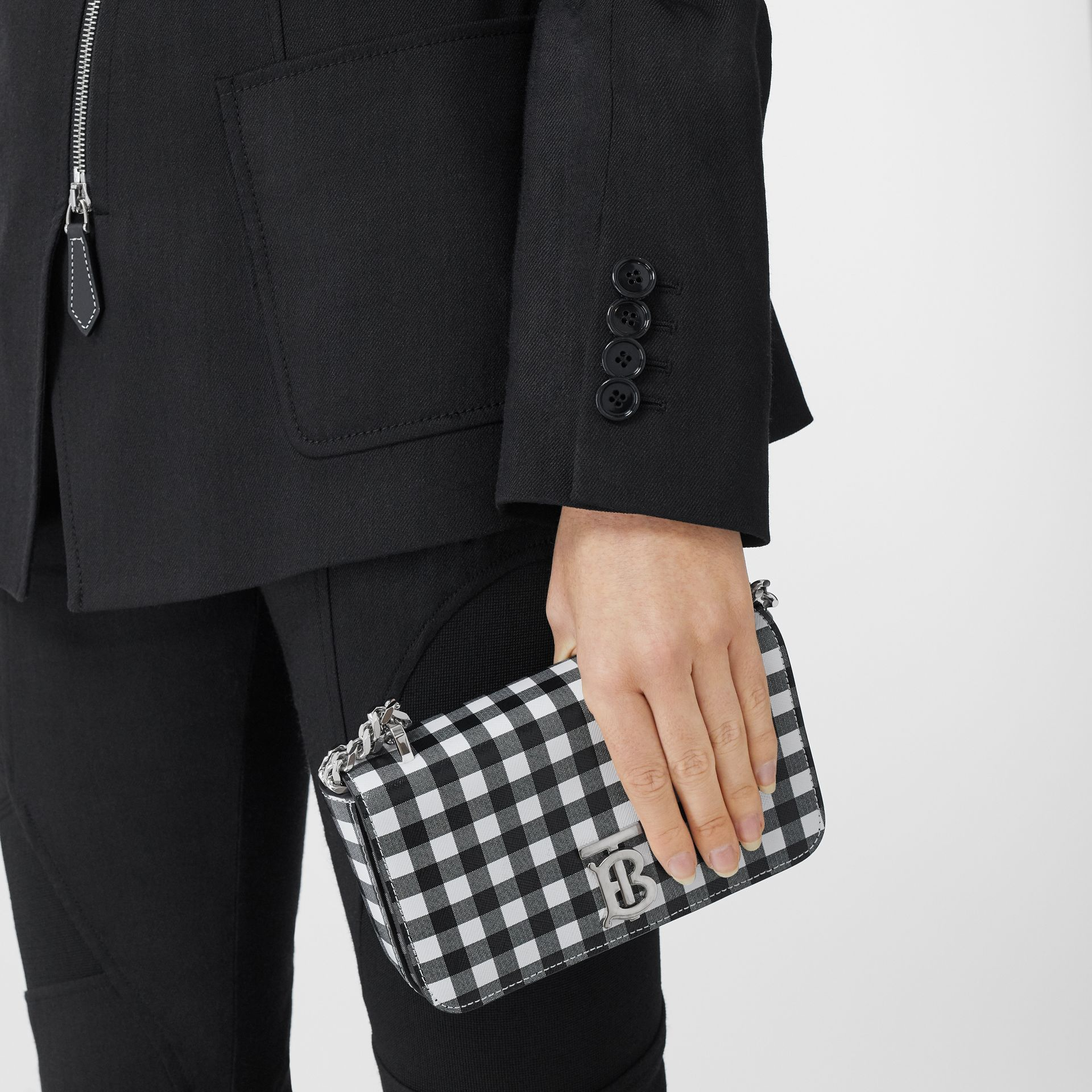 Mini Gingham Leather Lola Bag in Black/white - Women | Burberry - gallery image 10