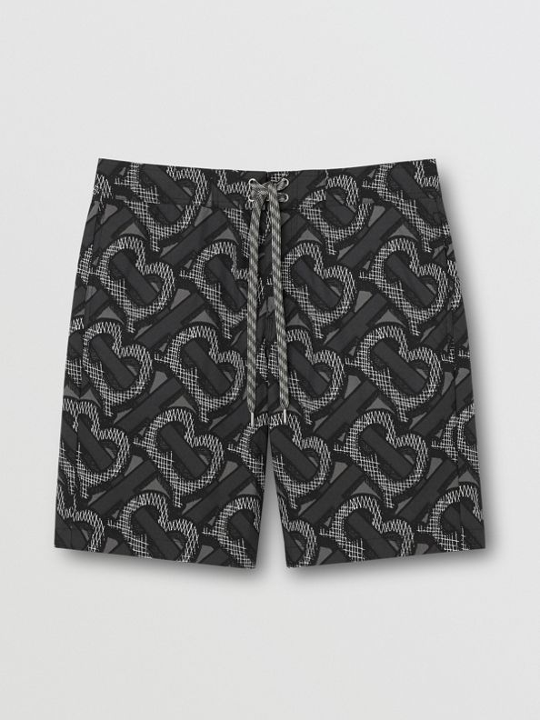 Monogram Print Swim Shorts in Graphite