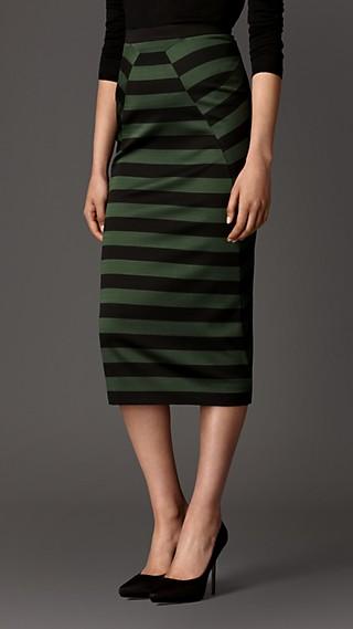 Wraparound Panel Striped Skirt