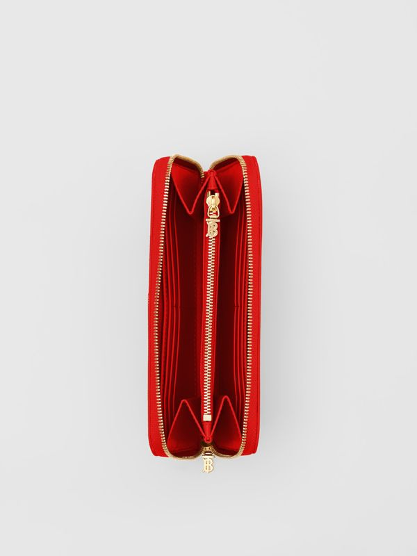 Monogram Motif Grainy Leather Ziparound Wallet in Bright Red - Women | Burberry - cell image 3