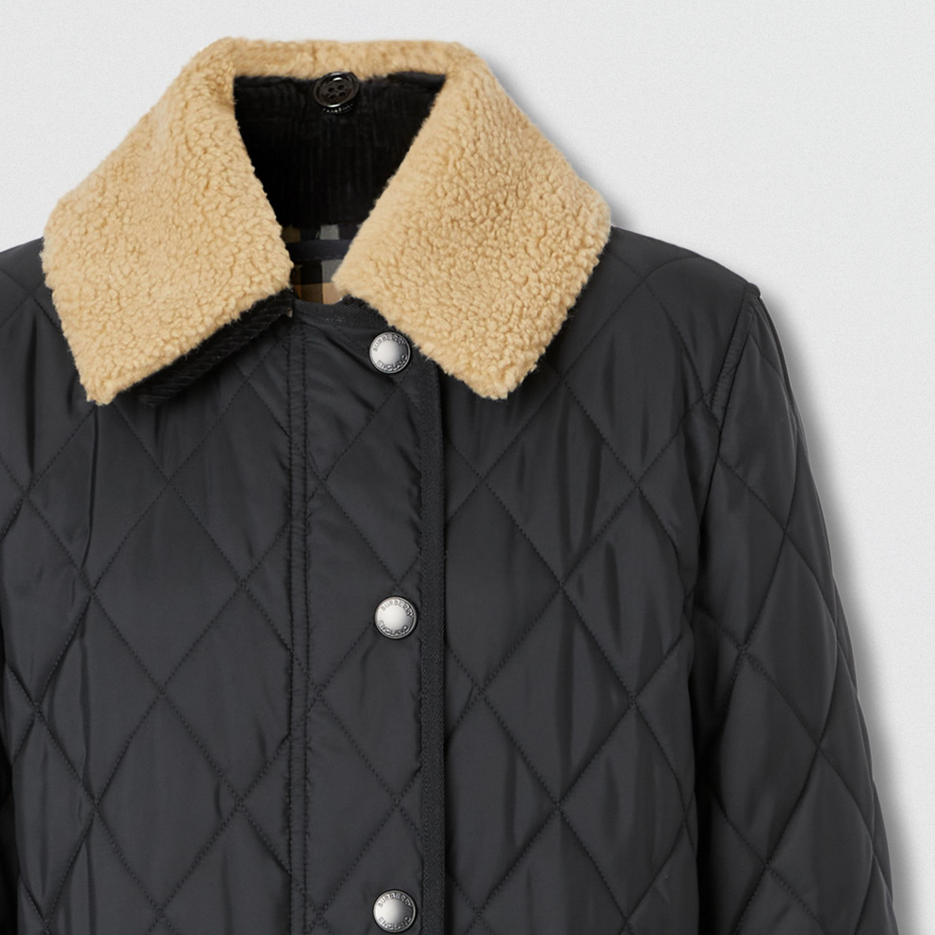 Detachable Fleece Collar Diamond Quilted Coat in Black - Women | Burberry - gallery image 6