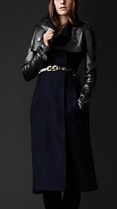 Wool Trench Coat With Detachable Leather Jacket