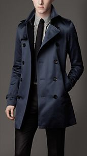 Trench coat de longitud media en satén de algodón