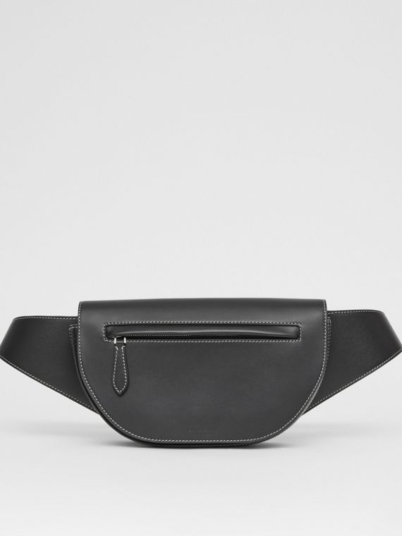 Small Topstitched Leather Olympia Bum Bag in Black