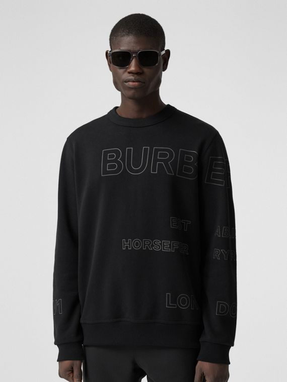 Horseferry Print Cotton Sweatshirt in Black