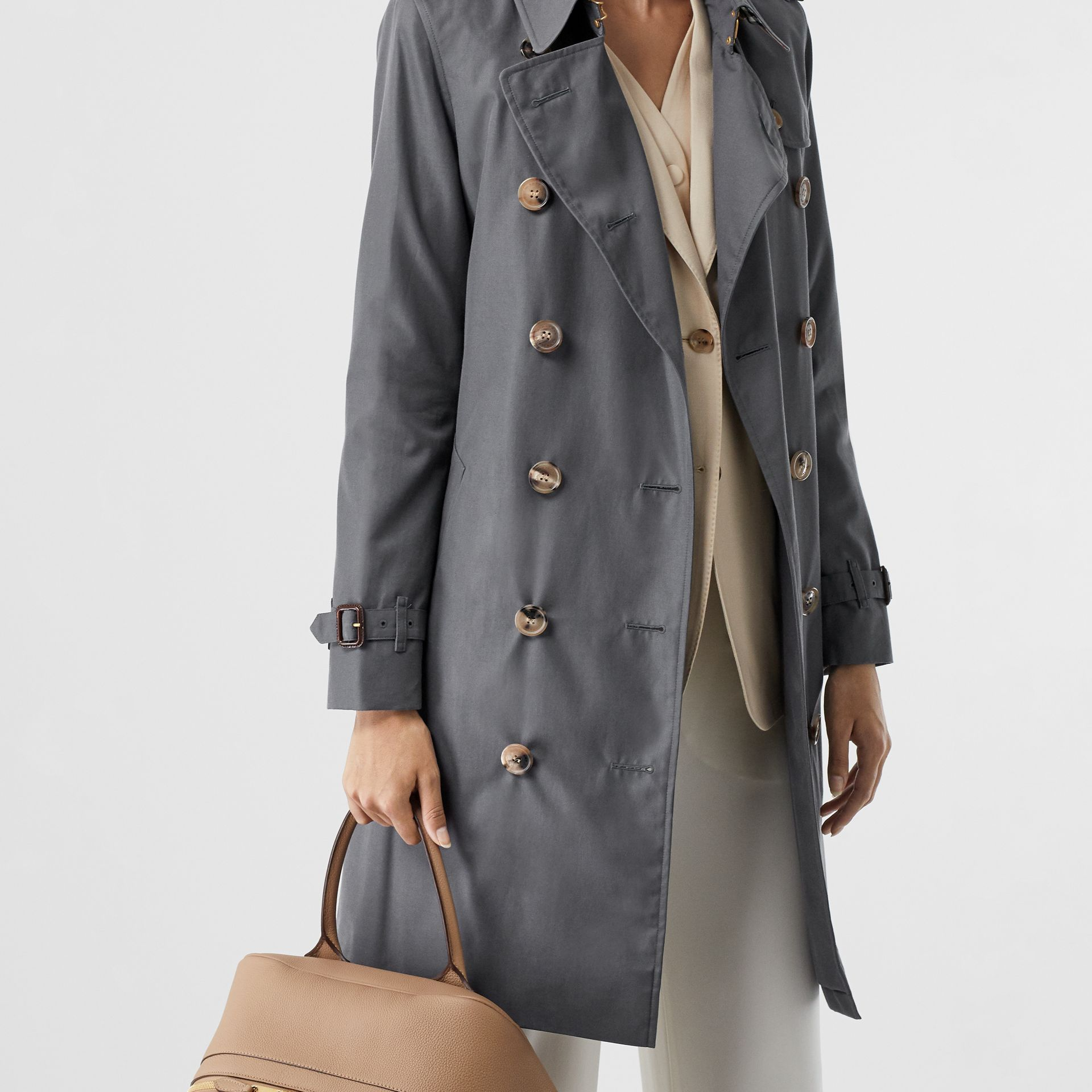 The Mid-length Kensington Heritage Trench Coat in Grey - Women | Burberry - gallery image 8