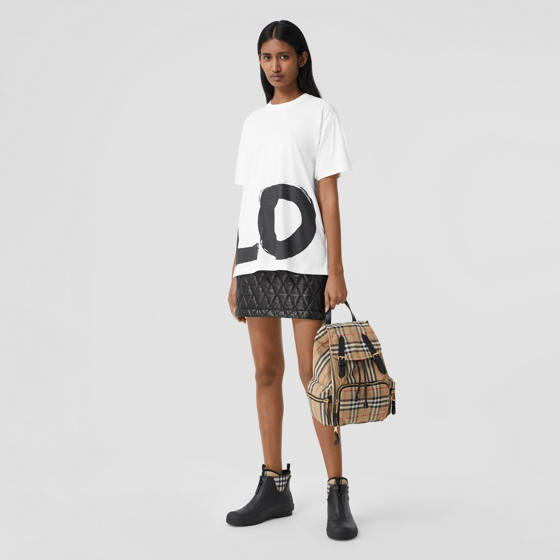 Love Print Cotton Oversized T-shirt in White - Women | Burberry - gallery image 4