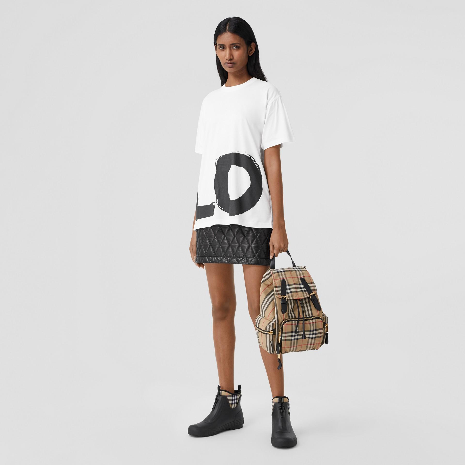Love Print Organic Cotton Oversized T-shirt in White - Women | Burberry - gallery image 4