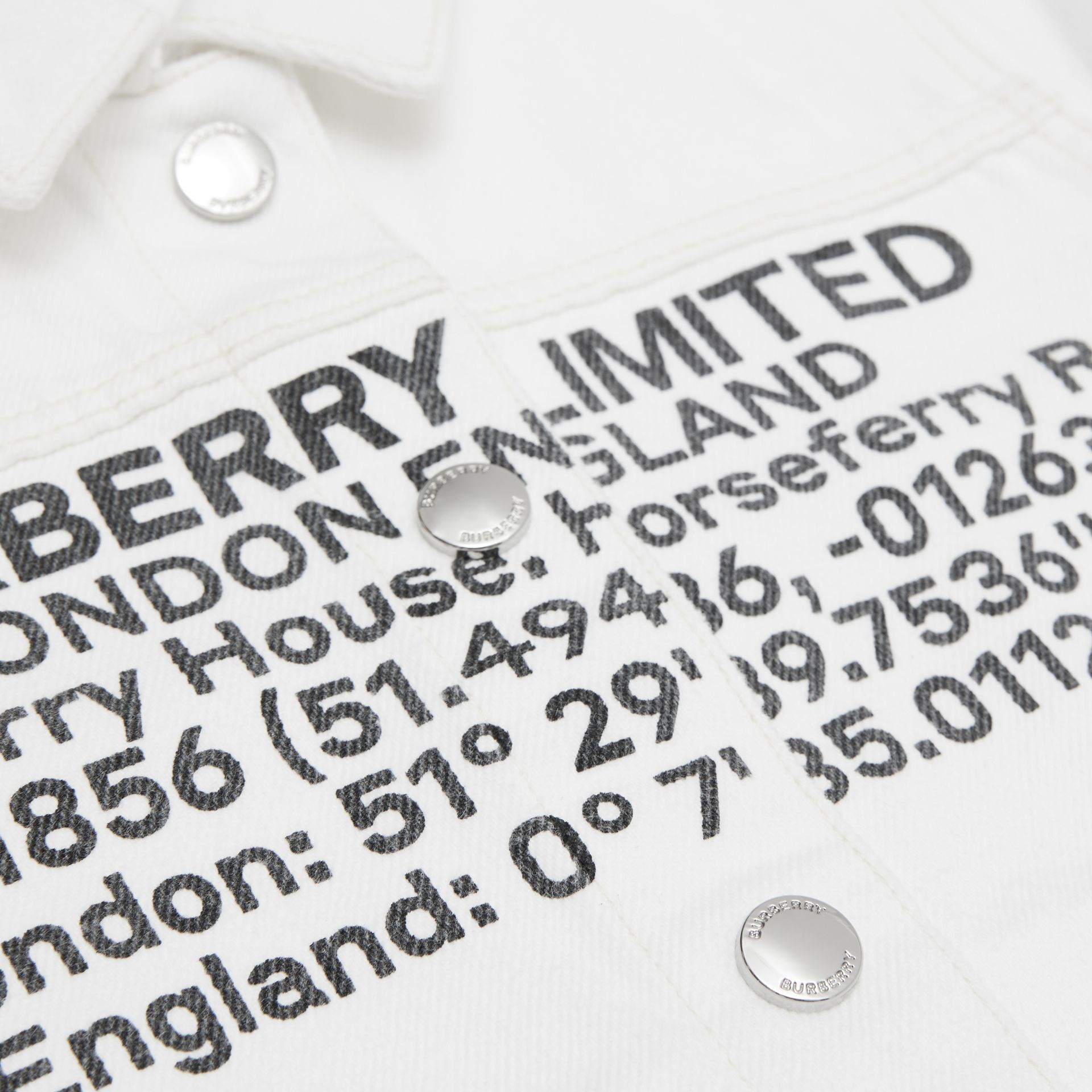 Location Print Japanese Denim Jacket in Natural White | Burberry - gallery image 5