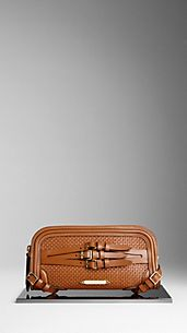 Woven Bridle Leather Belted Clutch Bag