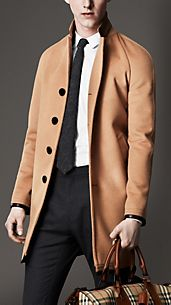 Leather Trim Wool Cashmere Coat