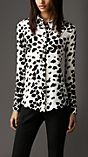 Spotted Animal Print Silk Shirt