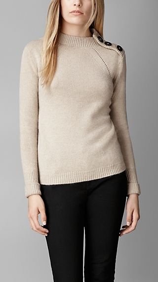 Button Detail Cashmere Sweater
