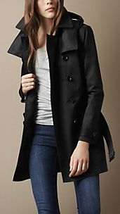 Short Technical Cotton Twill Warmer Trench Coat