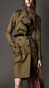 Long Gabardine Dropped Funnel Neck Trench Coat