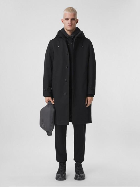 Cotton Gabardine Hooded Car Coat in Black