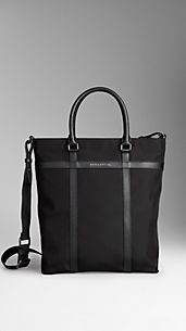 Medium London Leather and Nylon Tote Bag