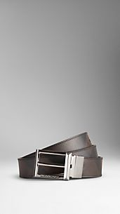 Smoked Check Reversible Leather Belt