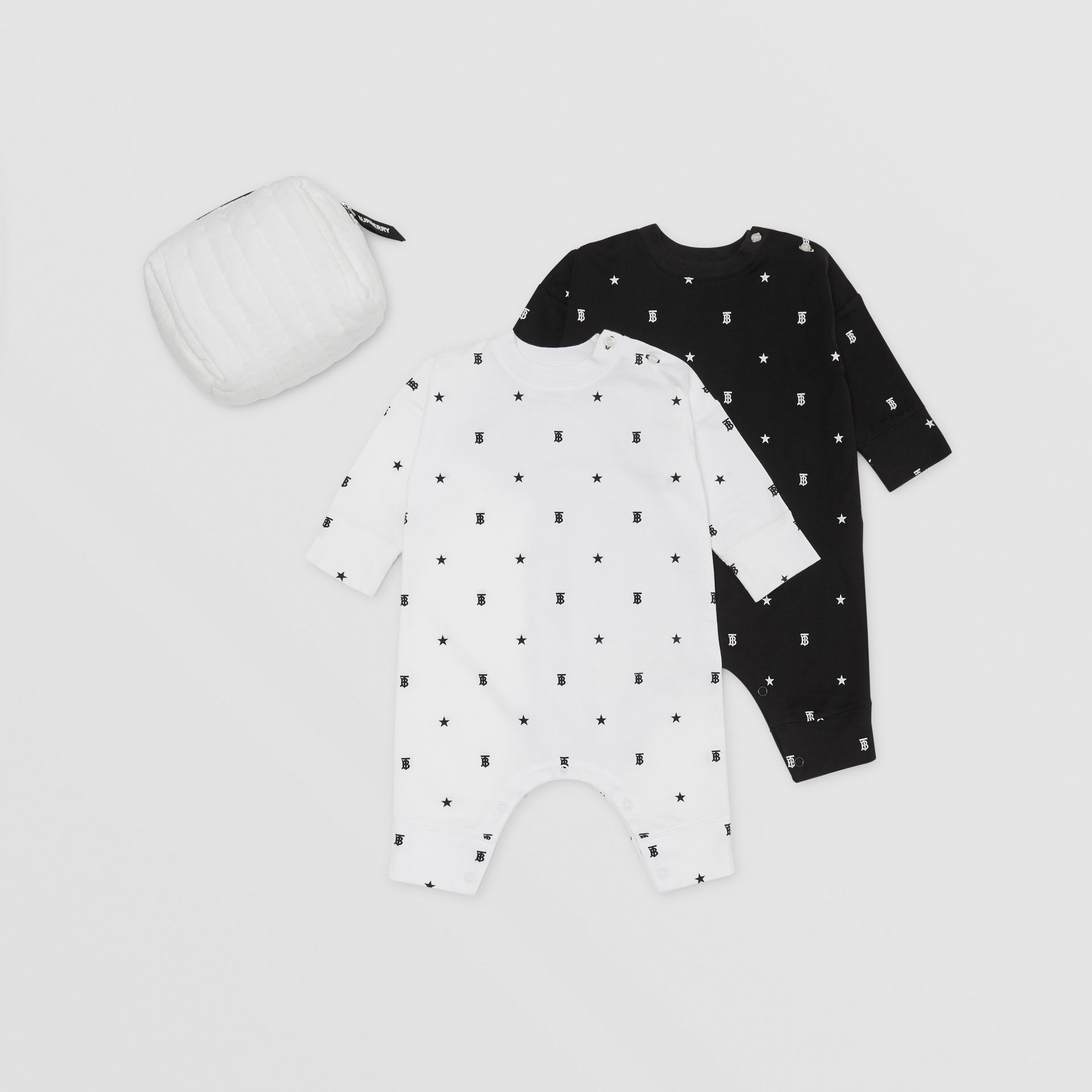 Star and Monogram Motif Two-piece Baby Gift Set in Black/white - Children | Burberry - gallery image 0