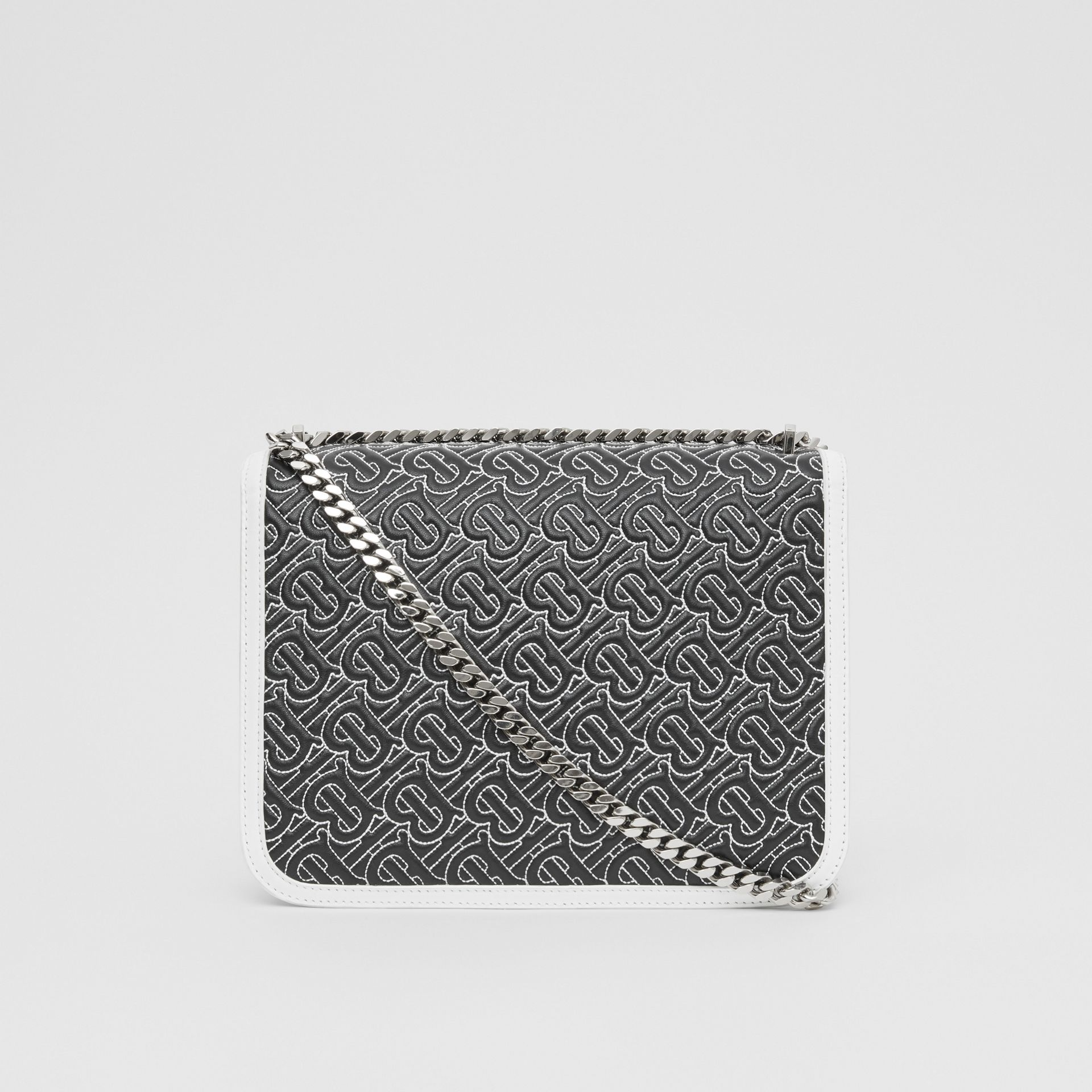 Medium Quilted Monogram Lambskin TB Bag in Black - Women | Burberry - gallery image 7