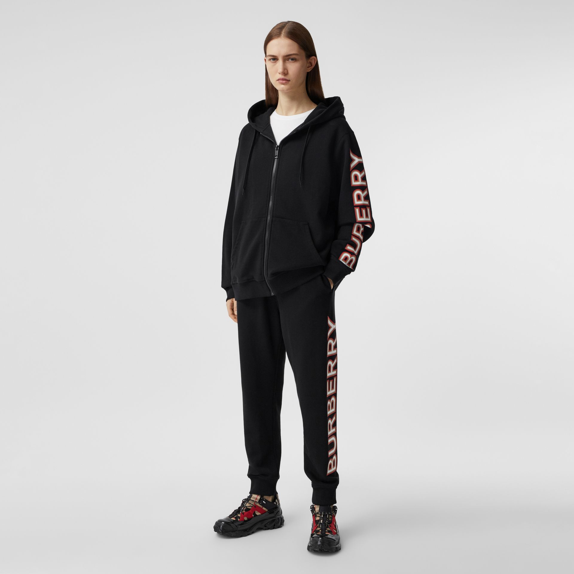 Logo Print Cotton Jogging Pants in Black - Women | Burberry - gallery image 0
