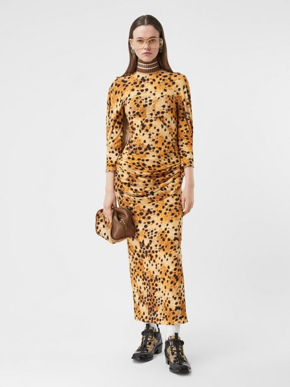 Sash Detail Spotted Monkey Print Dress in Nutmeg