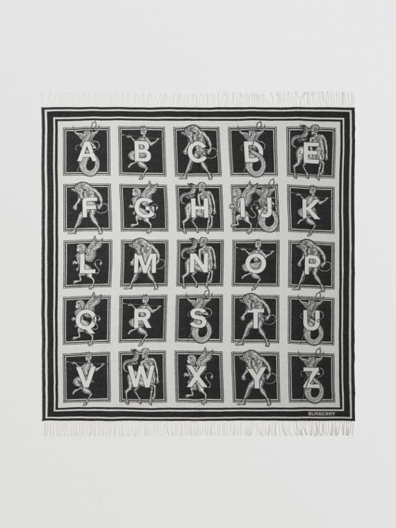 Mythical Alphabet Cashmere Wool Blanket in Black/white