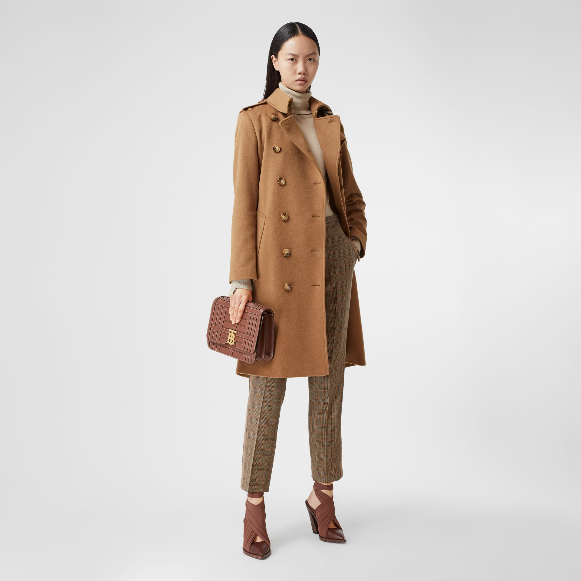 Regenerated Cashmere Trench Coat in Bronze - Women | Burberry - gallery image 0