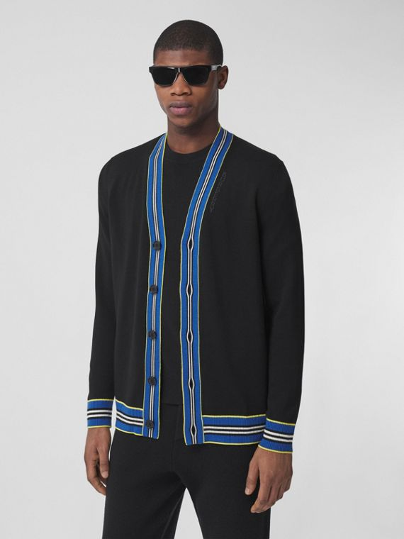 Icon Stripe Trim Merino Wool Cardigan in Black
