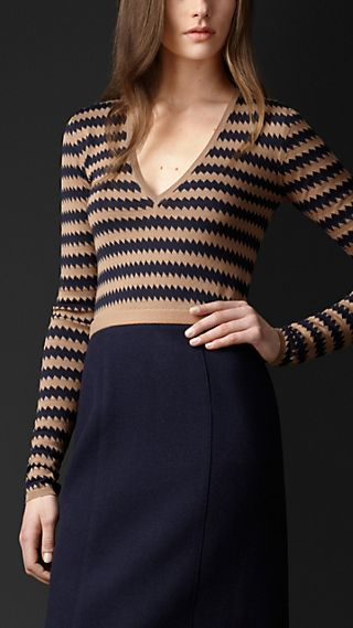 Silk Jacquard Zigzag V-Neck Sweater
