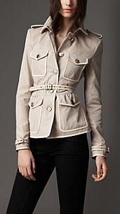 Leather Detail Cotton Gabardine Jacket