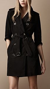 Mid-Length Lightweight Technical Fabric Trench Coat
