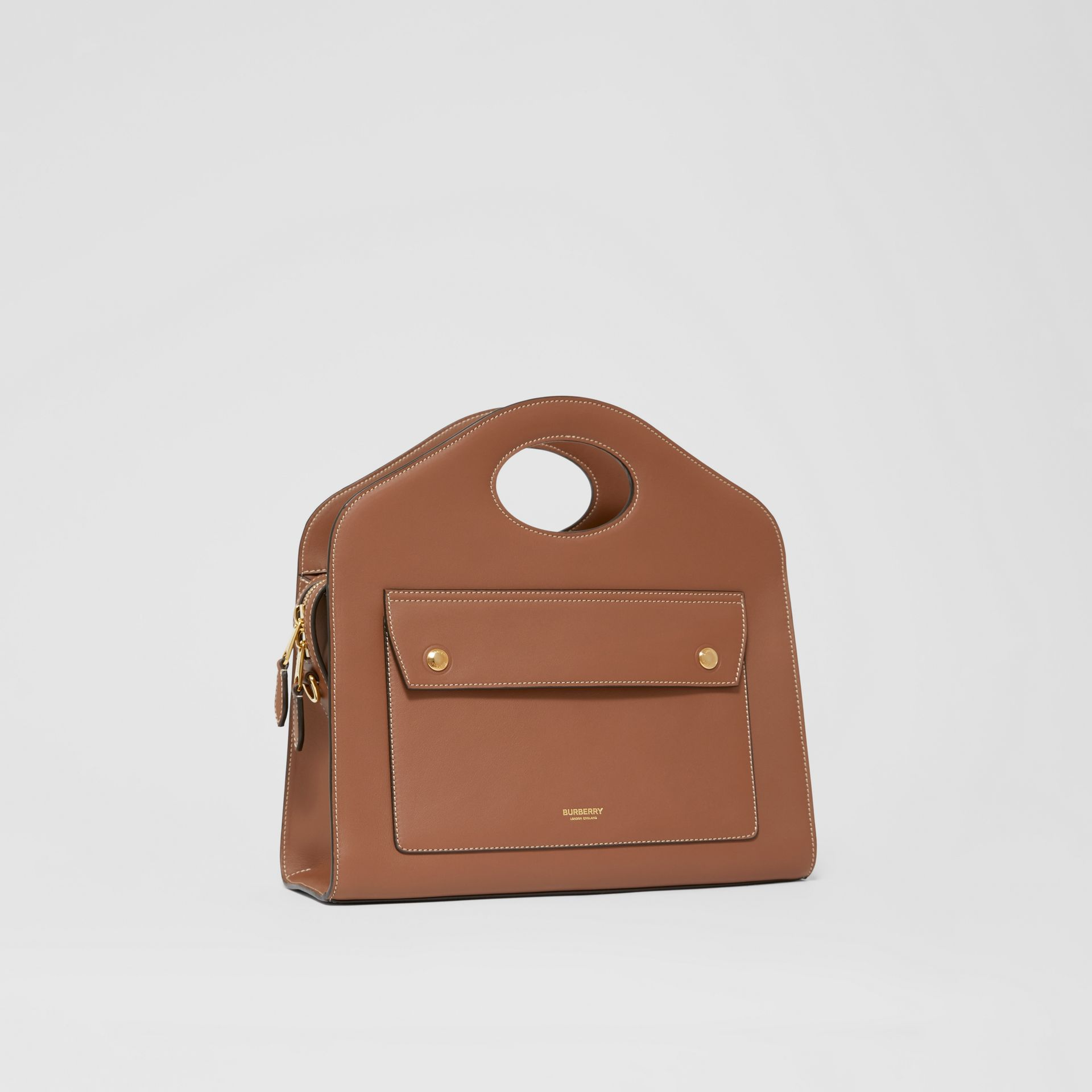 Small Topstitched Leather Pocket Tote in Malt Brown - Women | Burberry - gallery image 6