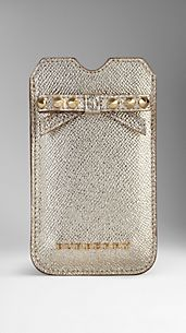 Metallic London Leather Studded Bow iPhone 5 Case