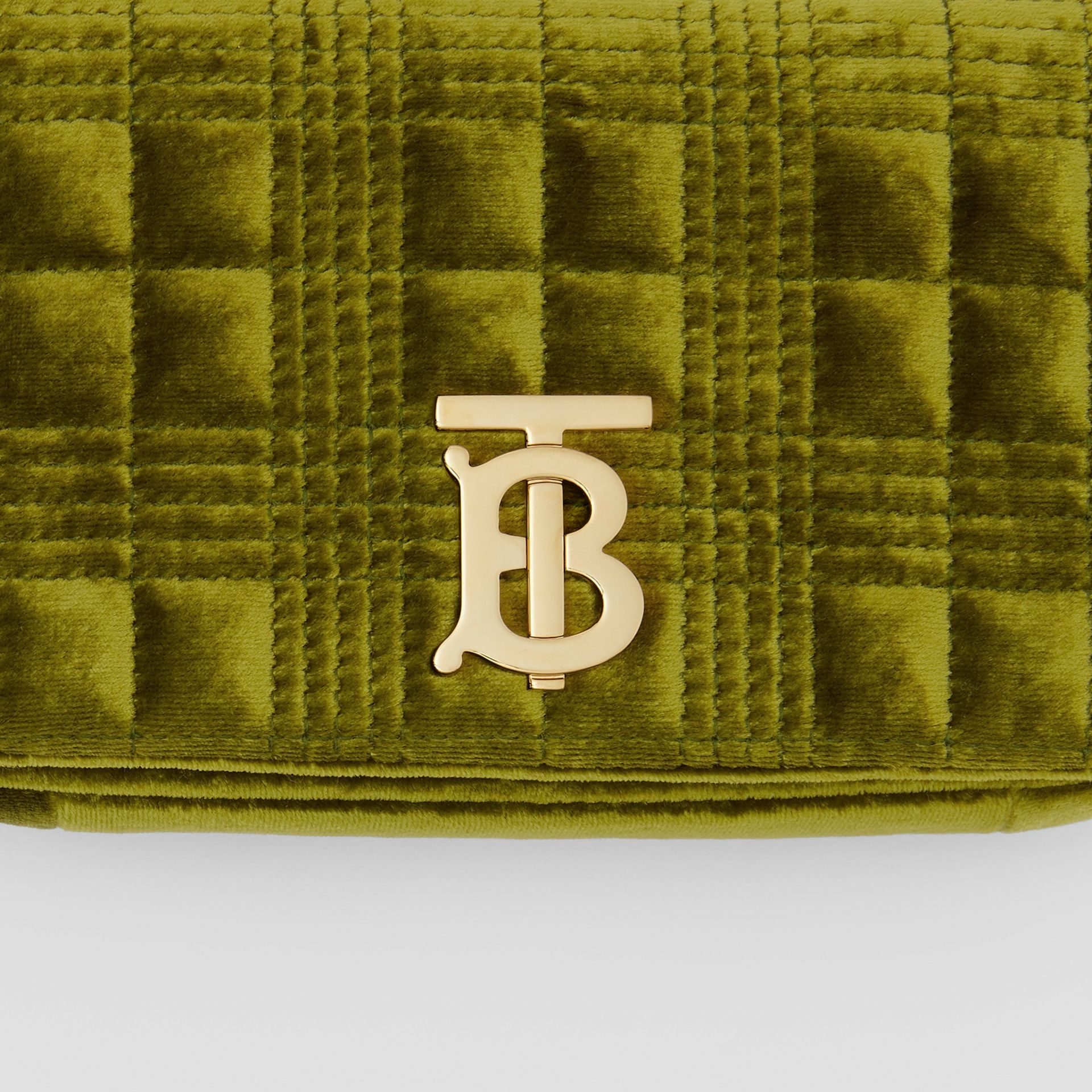 Mini Quilted Velvet Lola Bag in Juniper Green - Women | Burberry - gallery image 1