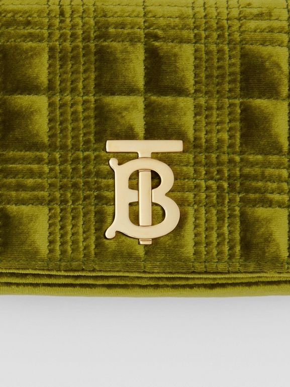 Mini Quilted Velvet Lola Bag in Juniper Green - Women | Burberry - cell image 1