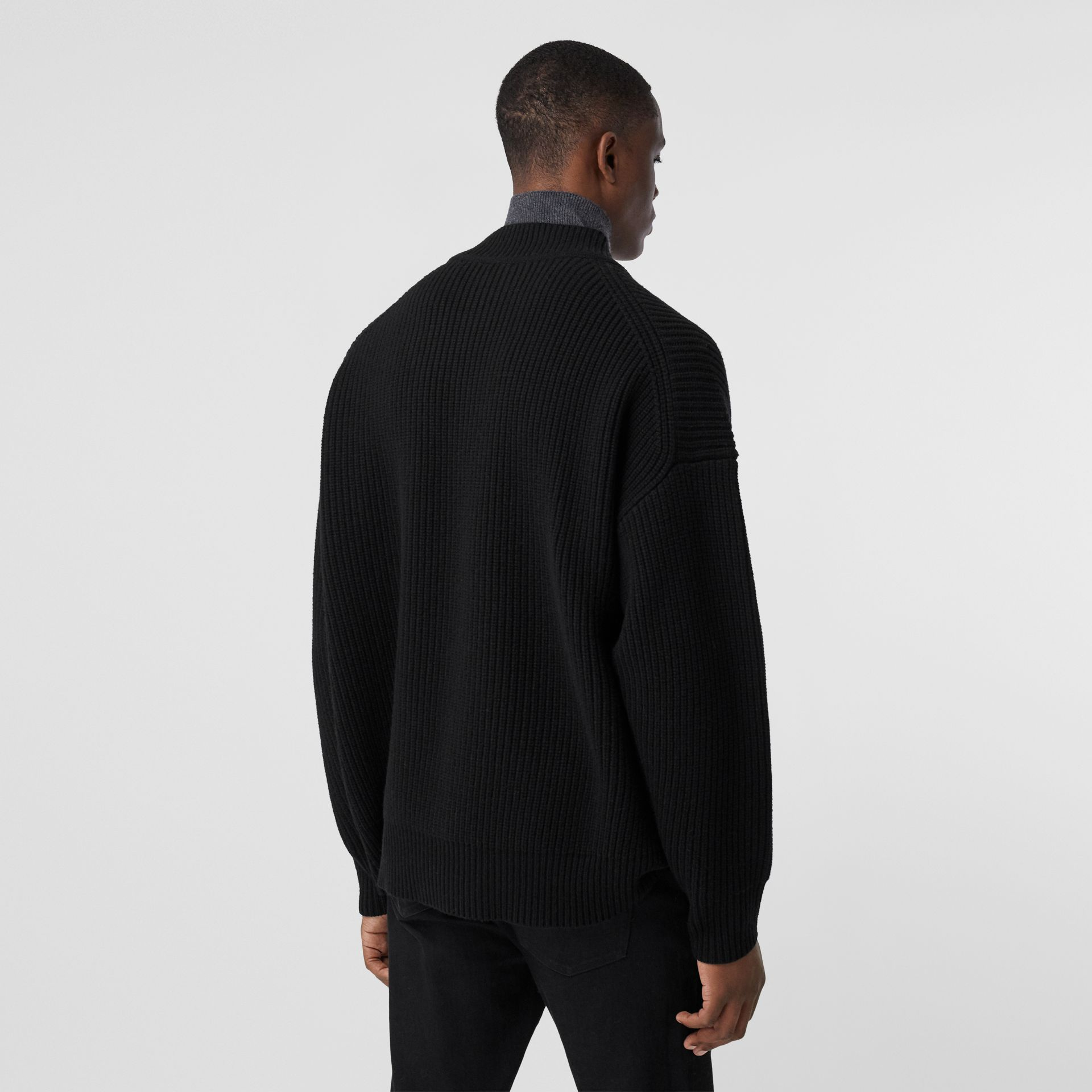 Funnel Neck Wool Cashmere Zip-front Sweater in Black - Men | Burberry - gallery image 2