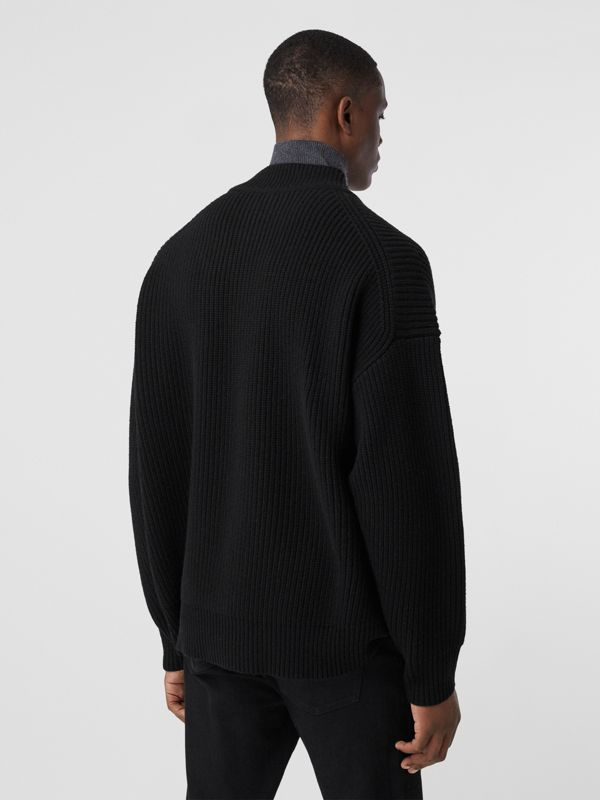 Funnel Neck Wool Cashmere Zip-front Sweater in Black - Men | Burberry - cell image 2