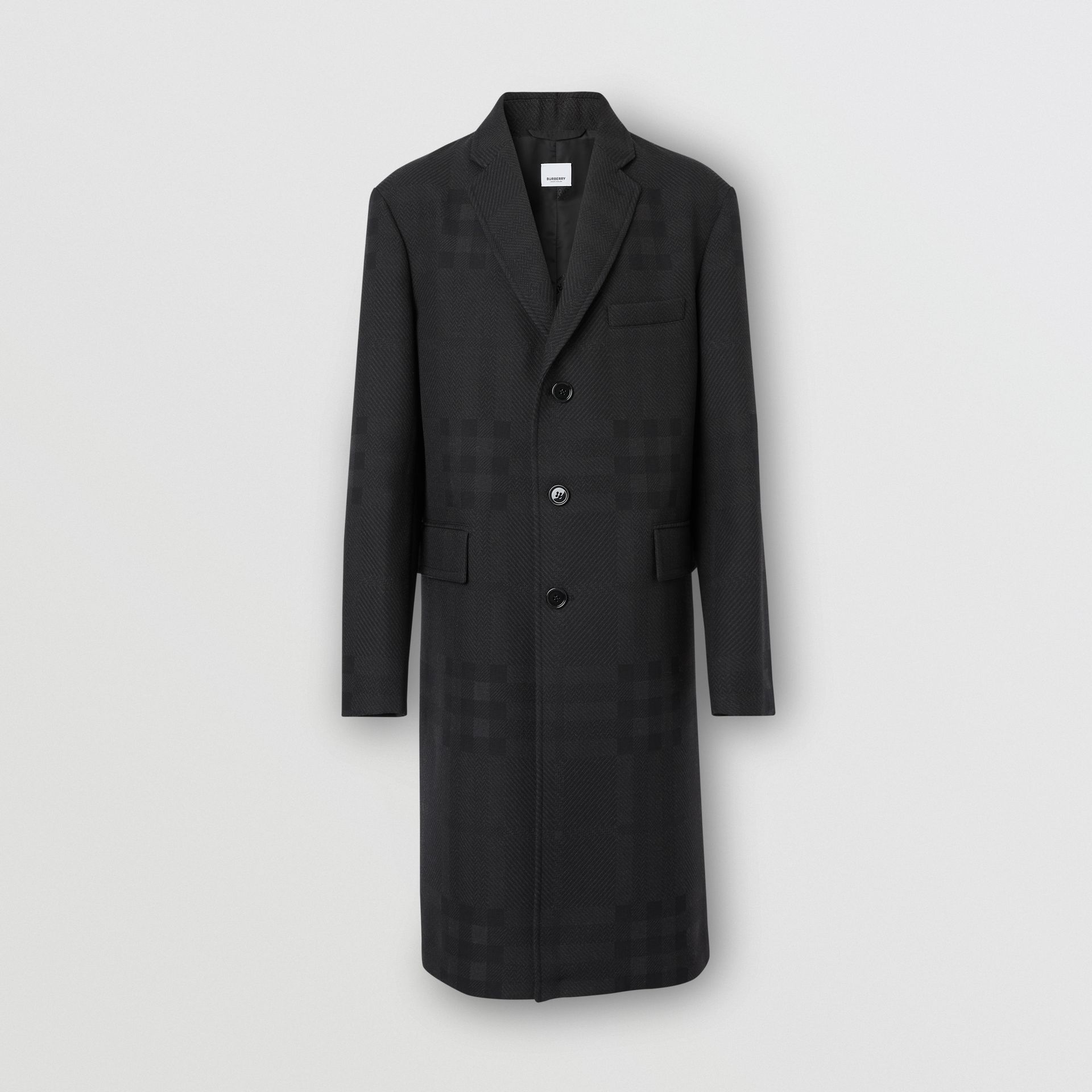 Check Wool Jacquard Tailored Coat in Charcoal Black - Men | Burberry - gallery image 3