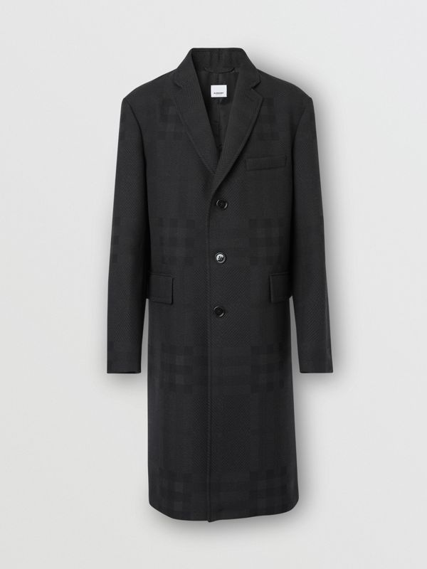 Check Wool Jacquard Tailored Coat in Charcoal Black - Men | Burberry - cell image 3