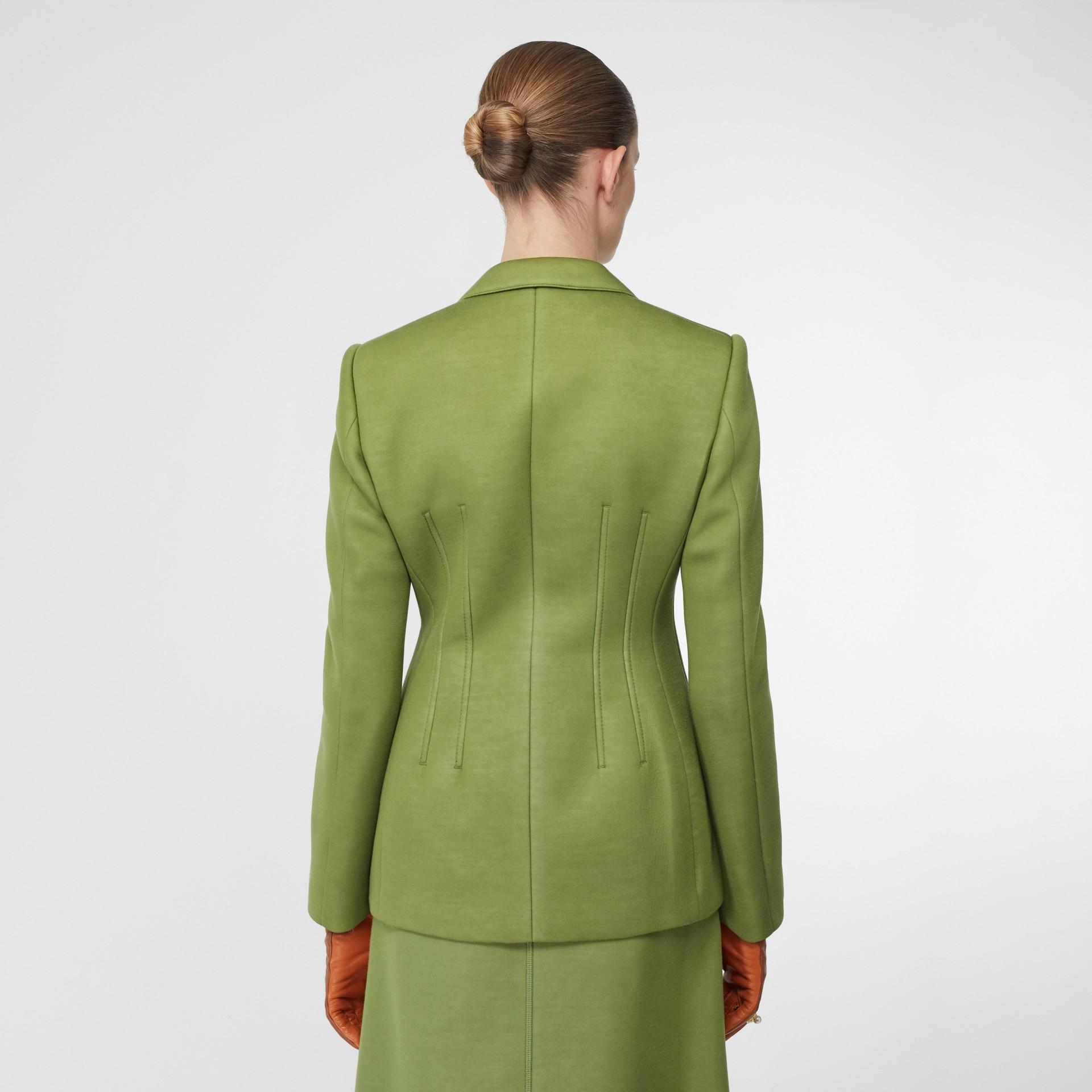 Double-faced Neoprene Tailored Jacket in Cedar Green - Women | Burberry - gallery image 2