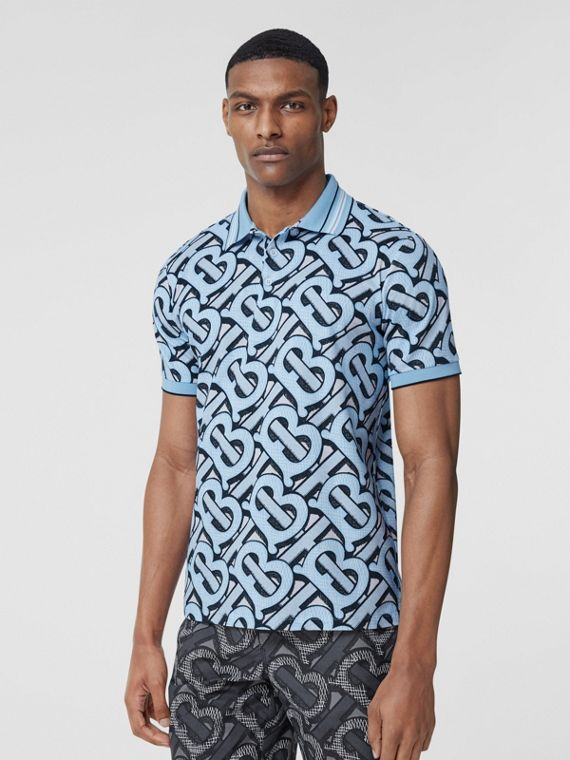 Monogram Print Cotton Piqué Polo Shirt – Unisex in Pale Azure