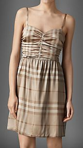 Ruched Stretch-Silk Check Night Dress