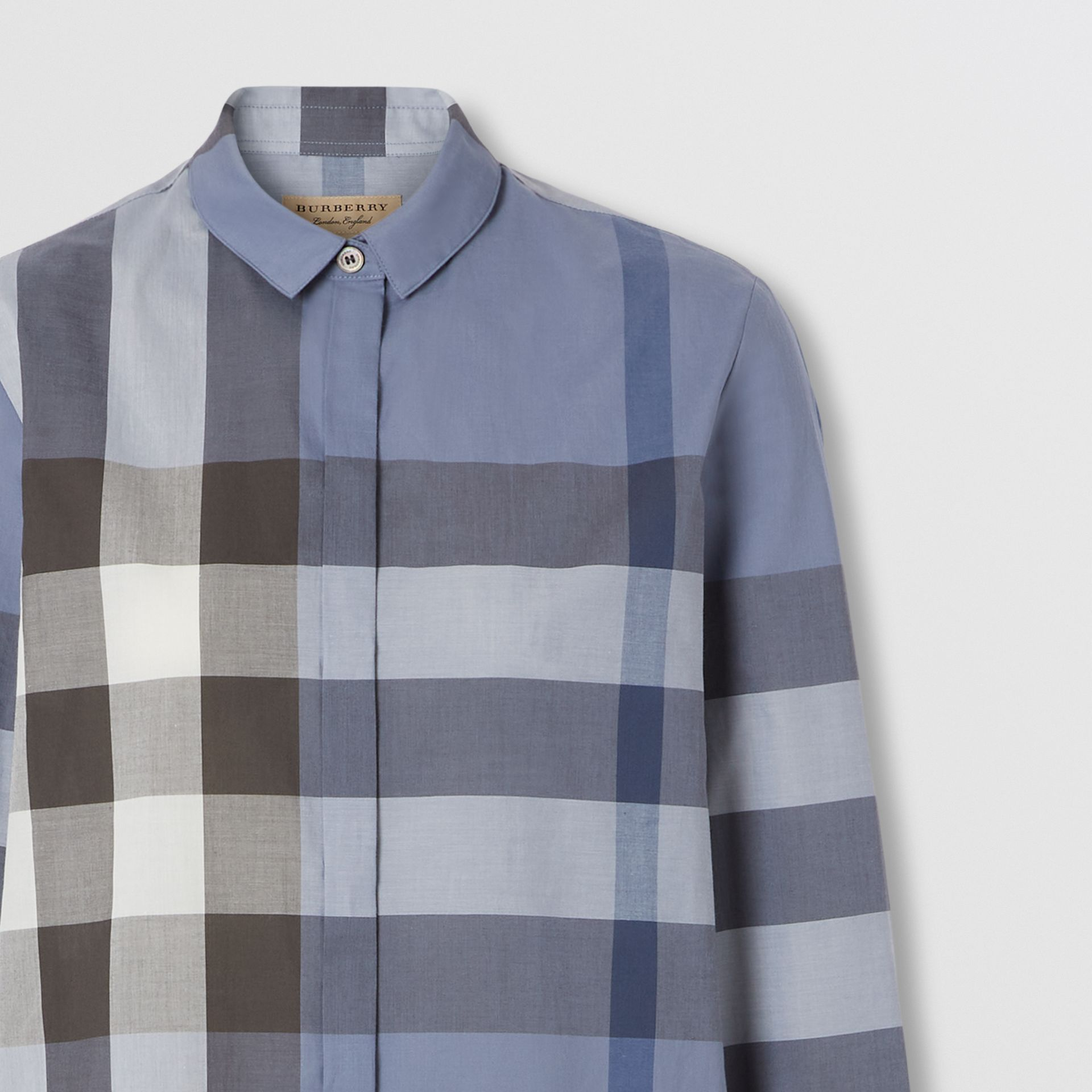 Check Cotton Voile Shirt in Pebble Blue - Women | Burberry Hong Kong S.A.R. - gallery image 1