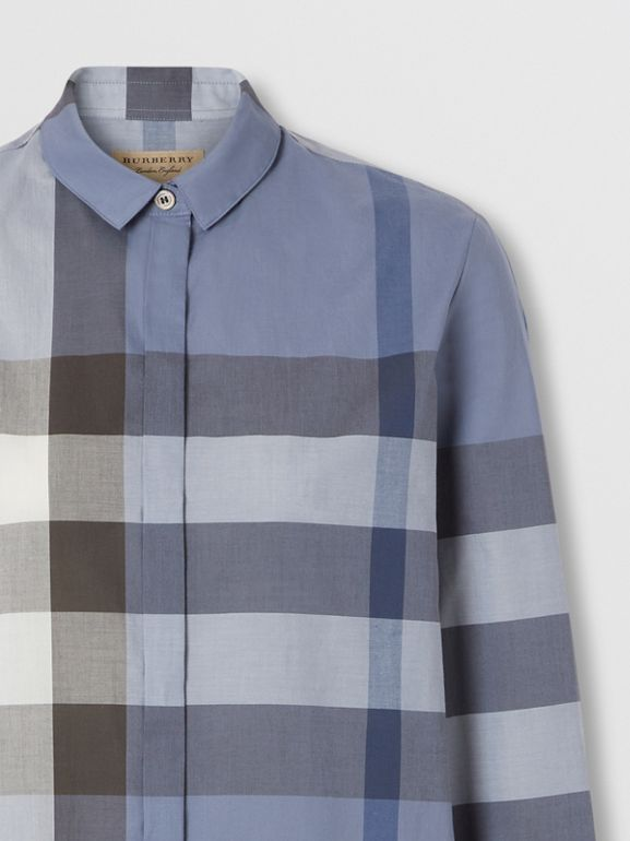 Check Cotton Voile Shirt in Pebble Blue - Women | Burberry Hong Kong S.A.R. - cell image 1