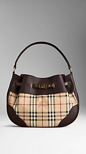 Medium Leather Haymarket Check Hobo Bag