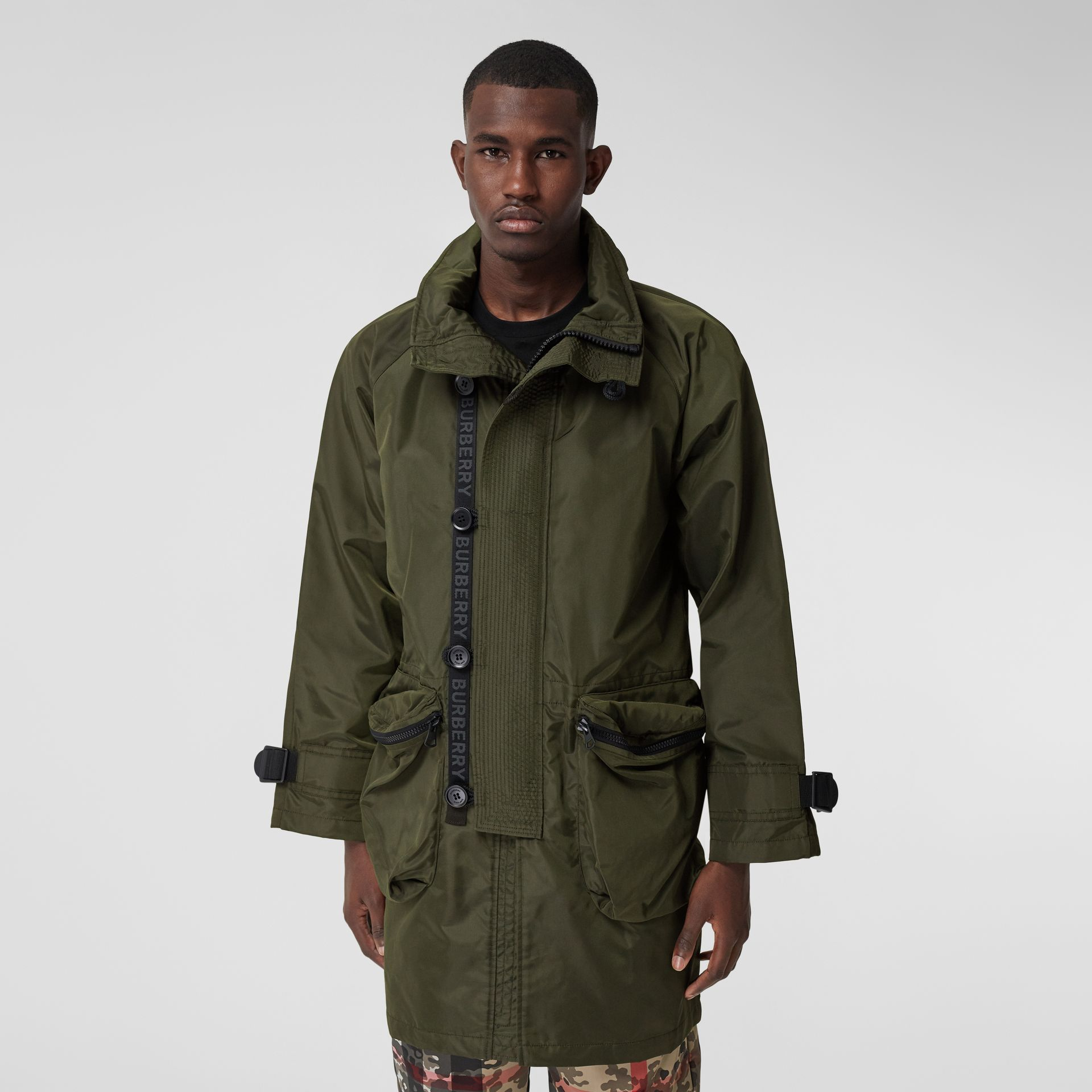 Packaway Hood Logo Tape Nylon Canvas Parka in Dark Olive - Men | Burberry - gallery image 7