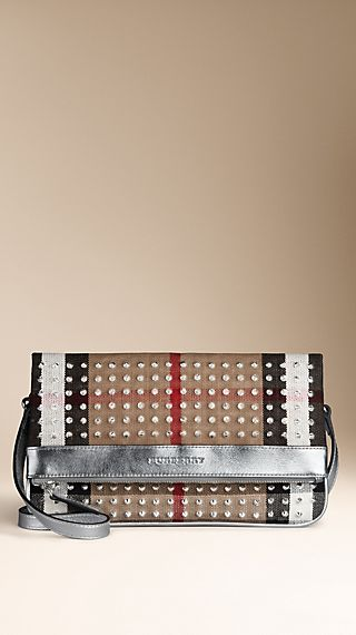 Studded Brit Check Foldover Crossbody Bag