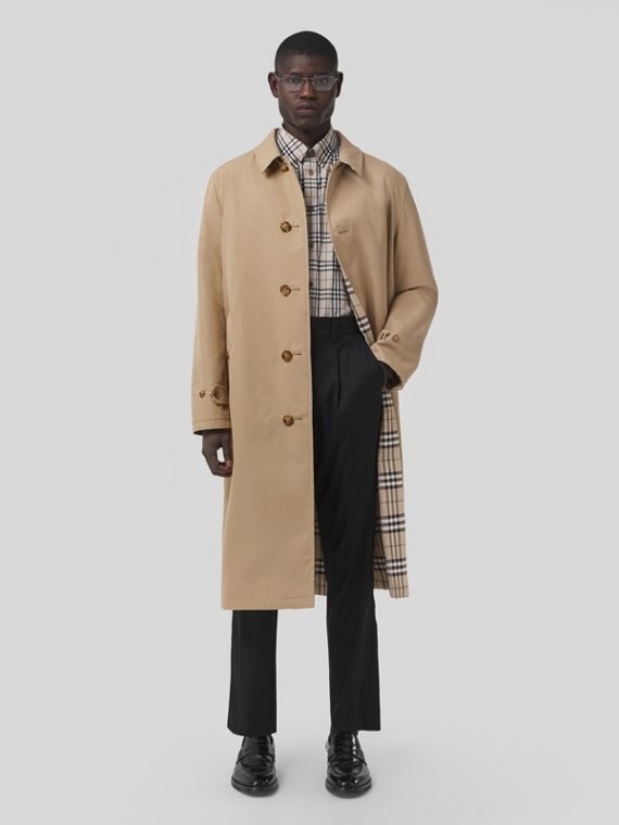 Reversible Cotton Gabardine Car Coat in Soft Fawn
