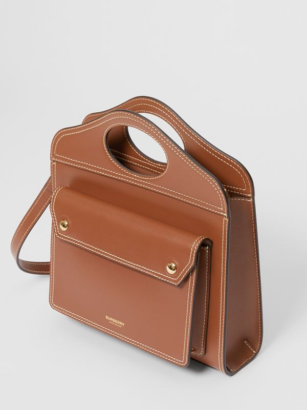 Medium Topstitch Detail Leather Pocket Bag in Malt Brown - Women | Burberry Canada - cell image 2